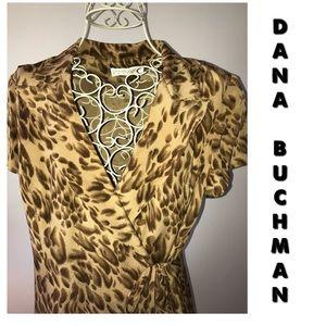 🆕 DANA BUCHMAN SILK WRAP DRESS IN ANIMAL PRINT
